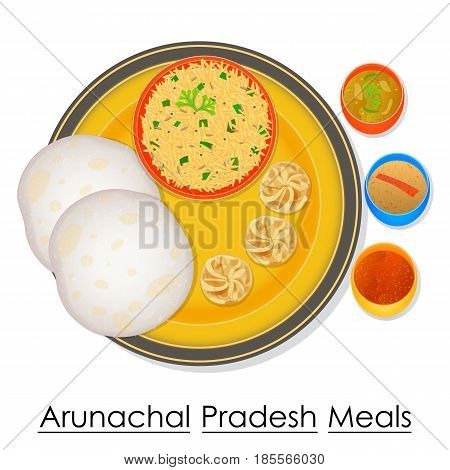 vector illustration of Plate full of delicious Arunachal Pradeshl Meal from India