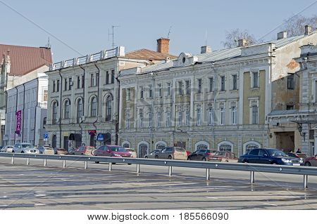 Nizhny Novgorod, Russia April 11, 2017: Merchant houses and buildings along the highway, Lower - Volga embankment. Russia.