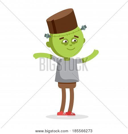 Little boy dressed up as Frankenstein. Halloween character green zombie isolated on white background. Funny costume for boy.