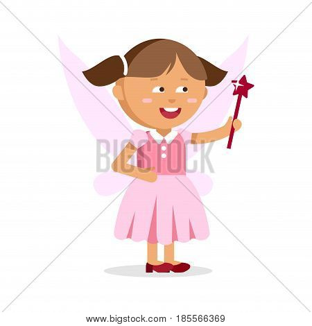 Cute little fairy girl with magic wand isolated on a white background. Dress for costume kids party.