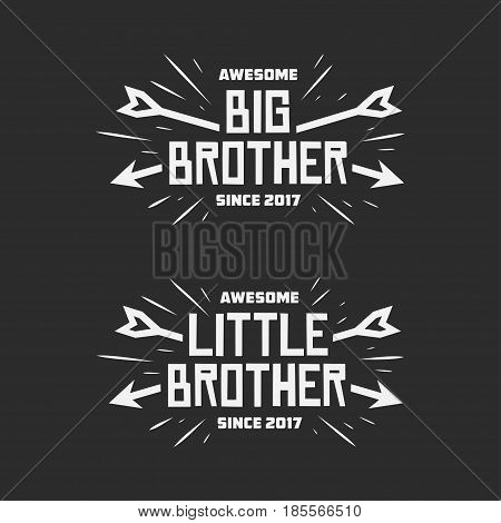 Big brother little brother typography print. Lettering t-shirt design for kid clothes. Vector vintage illustration.