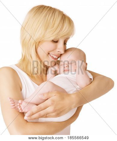 Mother and Baby Happy Woman with Sleeping Newborn Kid Child Sleep in parent hands over White Background