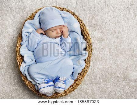 Baby Sleeping Newborn Kid Sleep Basket New Born Child Asleep in Blue Clothing
