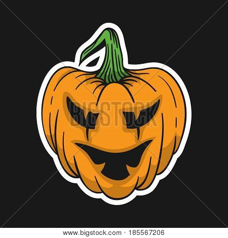 Pumpkin for Helloween. Vector Hand drawn doodle Illustration. Cute badge. For t-shirt or other uses.