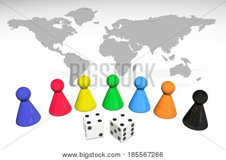 3d illustration: Seven colored plastic board game pieces with reflection and two dice with black dots on world map isolated on white background. Political concept: war and peace, intrigue politics.