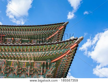 Roof Detail Of Gyeongbokgung Palace In Seoul, Korea