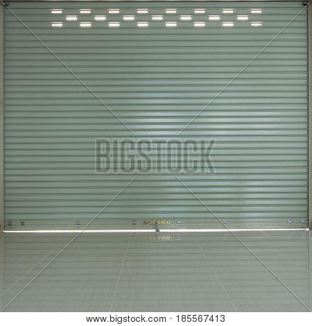 Aluminium Steel Roller Shutter Door And Tile Floor In Warehouse Building