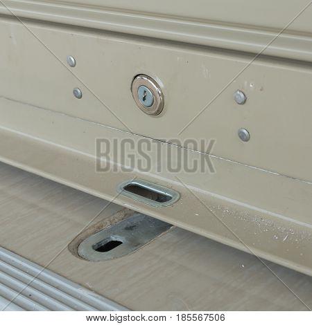 key hole on roller shutter door, industry construction