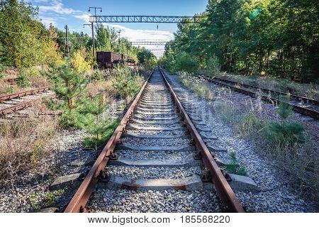 Desolate Yaniv railroad station near Pripyat city Chernobyl Exclusion Zone Ukraine