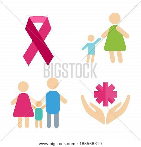 Volunteer icons charity donation vector set. Humanitarian awareness hand hope aid support and assistance care service human symbols. Trust social rescue helping ribbon.