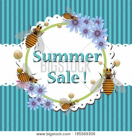 Flower frame with blue flowers and bees. Summer sale concept