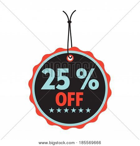 Isolated tag with the text twenty five percent off written on the tag