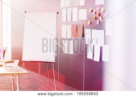 Flip chart by sticky notepapers on wall in office