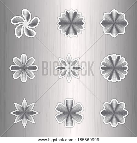Aluminum icon colors on a silver background with white stroke