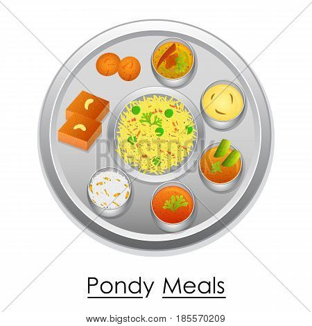 vector illustration of Plate full of delicious Pondy Meal from India