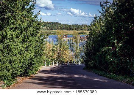 Pripyat River backwater in Chernobyl town Chernobyl Exclusion Zone Ukraine