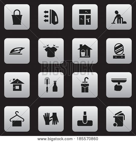 Set Of 16 Editable Dry-Cleaning Icons. Includes Symbols Such As Gauntlet, Steam, Pail And More. Can Be Used For Web, Mobile, UI And Infographic Design.