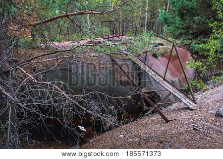 Tank wagon near Prypiat ghost town of Chernobyl Exclusion Zone Ukraine