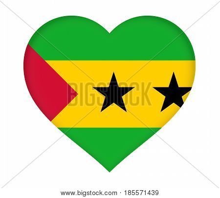Flag Of  Sao Tome And Principe Heart