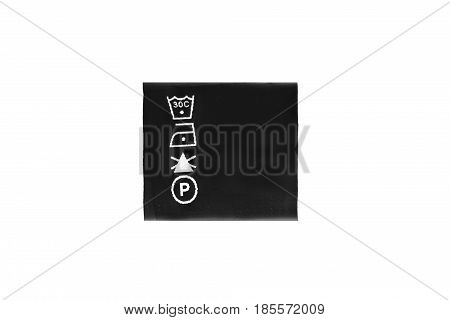 Washing instructions clothes black label on white background