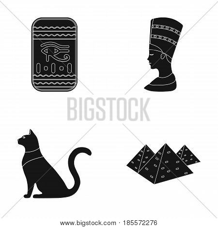 Eye of Horus, black Egyptian cat, pyramids, head of Nefertiti.Ancient Egypt set collection icons in black style vector symbol stock illustration .