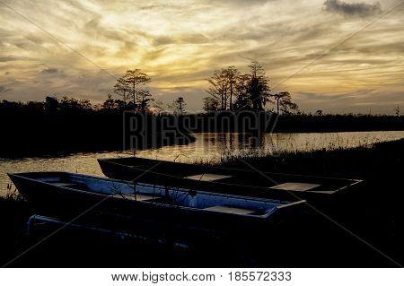 Orange Sunset In The Everglades