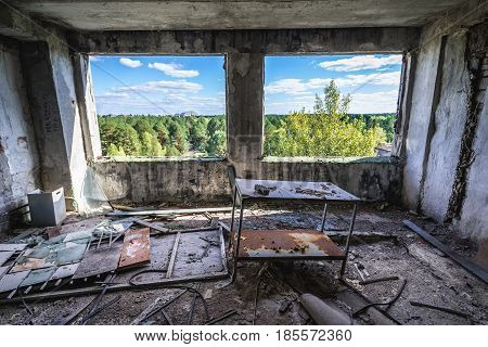 Inside the former factory in Pripyat desolate city in Chernobyl Exclusion Zone Ukraine