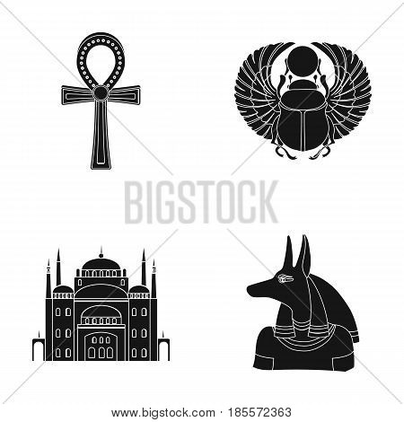 Anubis, Ankh, Cairo citadel, Egyptian beetle.Ancient Egypt set collection icons in black style vector symbol stock illustration .