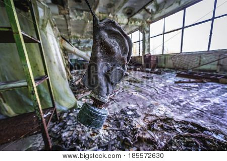 Hall in former factory in Pripyat desolate city in Chernobyl Exclusion Zone Ukraine