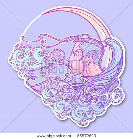 Decorative sticker. Antique style cartography wind icon. Male head resting on a curly ornate cloud and blowing wind . Decorative element for tattoo textile prints. EPS10 vector illustration