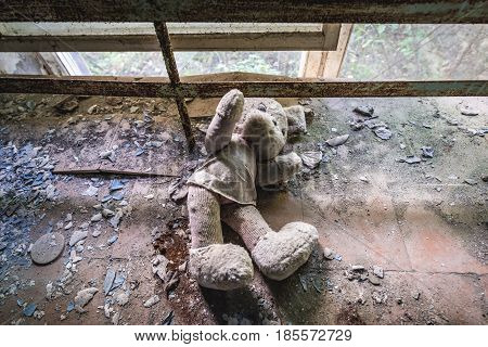 Toy in desolate factory in Pripyat desolate city in Chernobyl Exclusion Zone Ukraine