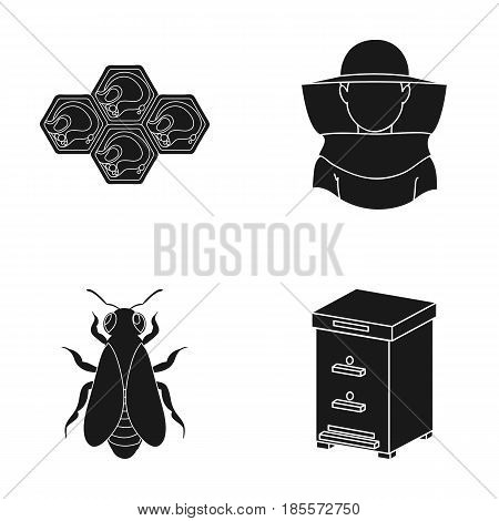 The bee, the bee-keeper in the mask, the honeycomb of the honey.Apiary set collection icons in black style vector symbol stock illustration .