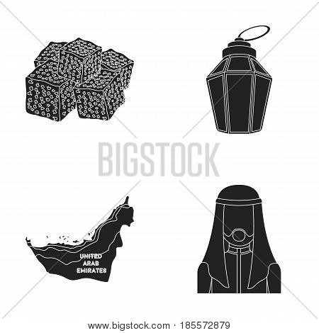 Eastern sweets, Ramadan lamp, Arab sheikh, territory.Arab emirates set collection icons in black style vector symbol stock illustration .