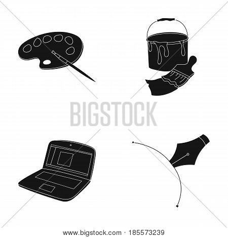 A palette with a brush, a bucket with a paint brush, a computer, a tool, a pen.Artist and drawing set collection icons in black style vector symbol stock illustration .