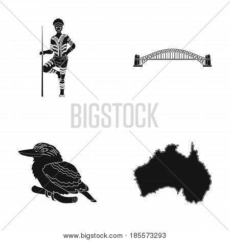 Aborigine with a spear, Sydney Harbor Bridge, kookabarra on a branch, the territory of the country.Australia set collection icons in black style vector symbol stock illustration .