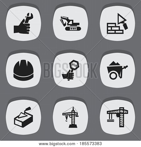 Set Of 9 Editable Construction Icons. Includes Symbols Such As Hardhat, Spatula, Endurance And More. Can Be Used For Web, Mobile, UI And Infographic Design.