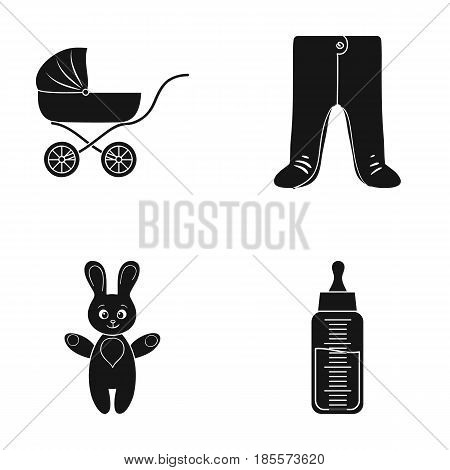 Stroller, bottle with a pacifier, toy, sliders.Baby born set collection icons in black style vector symbol stock illustration .