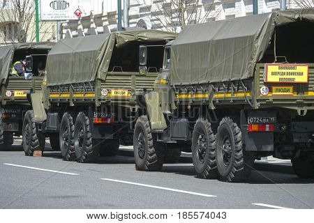 Moscow, Russia - May, 7, 2017: military convoy in Moscow, Russia