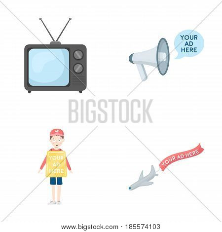 TV, megaphone, a man with a poster, an airplane with a banner.Advertising, set collection icons in cartoon style vector symbol stock illustration .