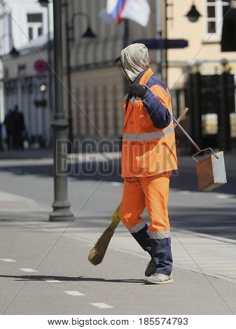 Moscow, Russia - May, 7, 2017: Municipal worker works on Moscow street
