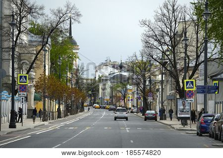 Moscow, Russia - May, 5, 2017: View of Ordinka street in Moscow, Russia