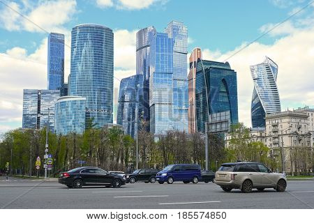 Moscow, Russia - May, 5, 2017: Kutuzov prospect and skyscrapers of Moscow City