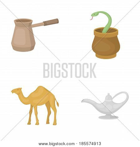 Cezve, Oil lamp, camel, snake in the basket.Arab emirates set collection icons in cartoon style vector symbol stock illustration .