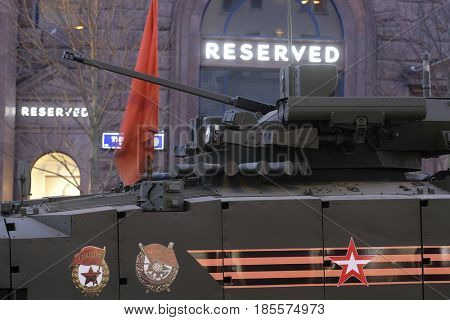 Moscow, Russia - May, 3, 2017: Repetition of military parade in Moscow, Russia