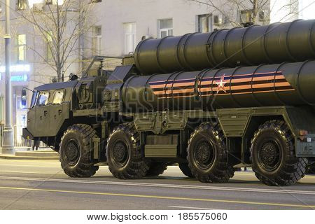 Moscow, Russia - May, 3, 2017: Tractor with the ballistic missile on a repetition of military parade in Moscow, Russia