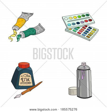 Balonchik paints, tubes with paint, watercolor in a box, ink in a bottle and a pen.Artist and drawing set collection icons in cartoon style vector symbol stock illustration .