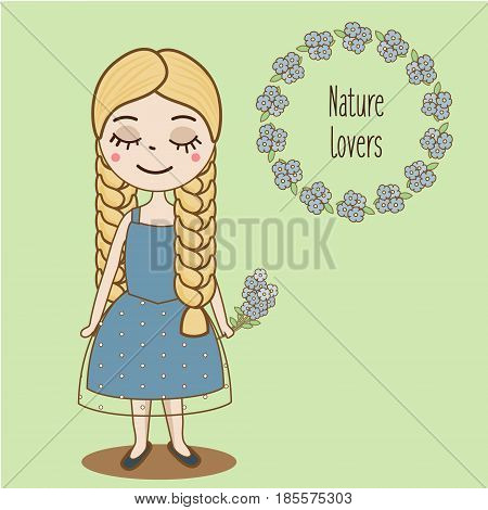 Hand drawn girl with braids. Beautiful kid in blue summer dress and forget-me-not flowers. Cute female character. Vector illustration
