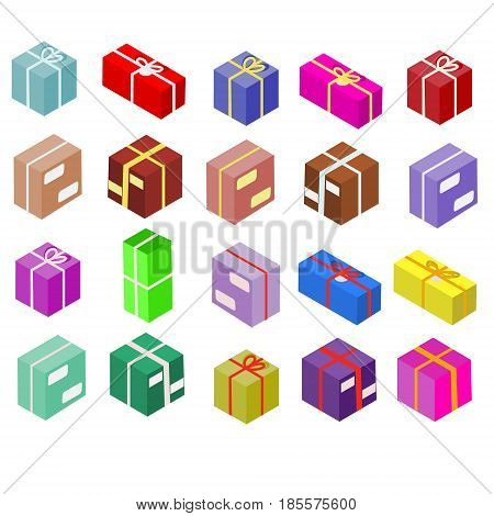 Isometric boxes isolated on white. Vector icons. Package and gift colorful postal boxes set. Shipping theme
