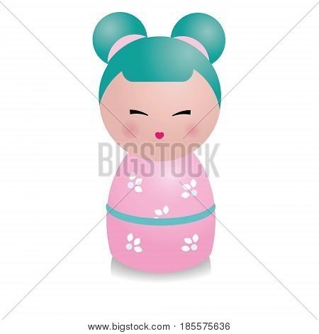 Cute kawaii kokeshi doll. Traditional japanese doll figure in realistic style. Vector icon