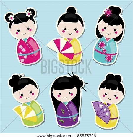 Cute kawaii kokeshi dolls stickers set. Traditional japanese dolls.